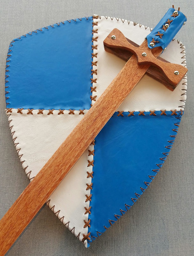 Wooden sword with a leather handle and a leather covered wooden shield